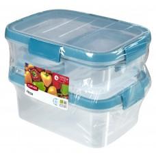 Набор контейнеров Fresh 2шт 0,2л+1шт 1л+1шт 1,2л прозрачный/голубой
