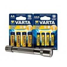 Комплект (Элемент питания алкалиновый VARTA LONGLIFE тип AAA 1.5V 4шт+AA 1.5V 4шт+Фонарь карманный)